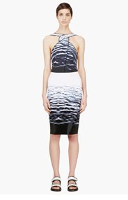 DION LEE Navy & Ivory Water Print Silk Contour Dress for women