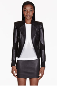 DION LEE Black Leather Cut-Out 3D Filter Jacket for women