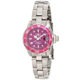 Invicta 11441 Women's Pro Diver Pink Bezel Purple Dial Stainless Steel Dive Watch