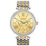 Caravelle 45N100 Womens Crystal New York Champagne Dial TT Steel Bracelet Watch