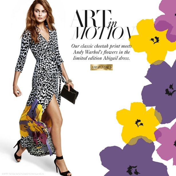 Art in Motion: Our classic cheetah print meets Andy Warhol's flowers in the limited edition Abigail dress. Shop Now.