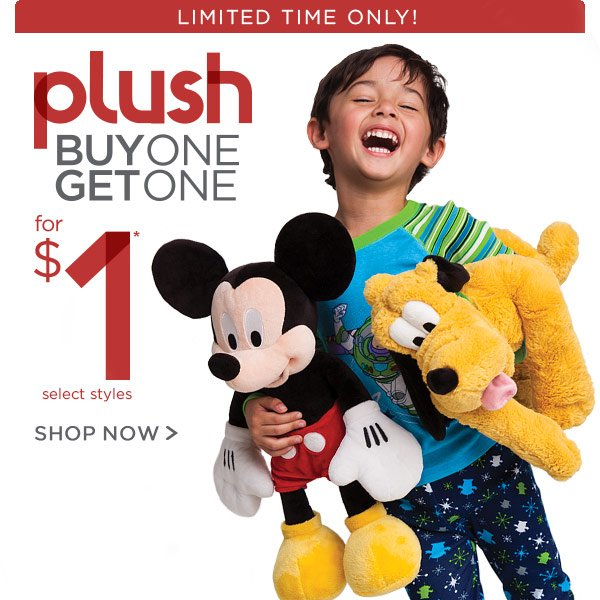 Limited Time Only! Plush Buy One Get One for $1 | Shop Now