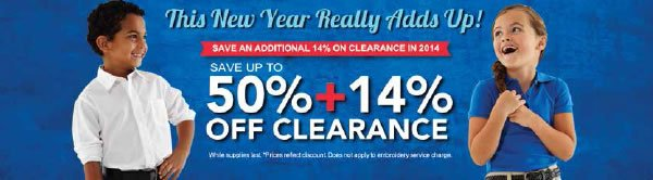 This New Year really adds up! Save an additional 14% on Clearance in 2014