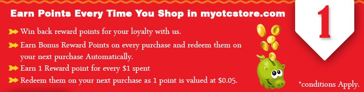 Earn Points Every Time shop in myotcstore.com