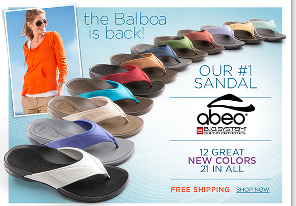 Try the custom 3-D fit comfort of ABEO B.I.O.system Balboa sandals! Now available in 21 great colors, including 12 fresh NEW styles! Featuring built-in orthotics, enjoy FREE Shipping when you shop now at The Walking Company.