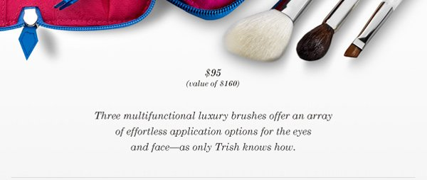 Trish McEvoy's multifunctional luxury brushes offer an array of effortless application for the eyes and face.