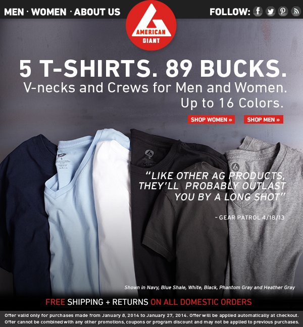 Ends Today: 5 T-Shirts for 89 Bucks.