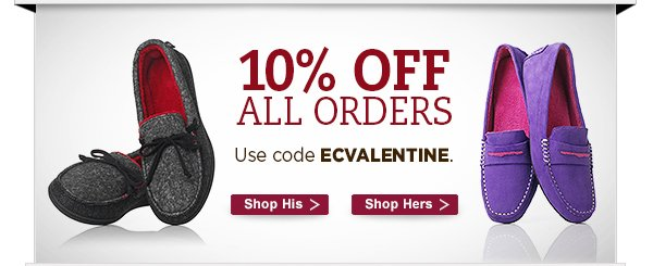 10% off all orders.  Use  code ECVALENTINE