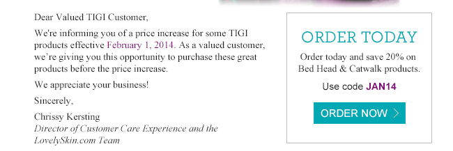 Save 20% on TIGI Bed Head and Catwalk - Use code JAN14
