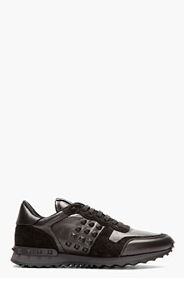 VALENTINO BLACK leather & suede STUDDED SNEAKERS for men