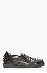 VALENTINO Black Leather Studded Slip-On Shoes for men