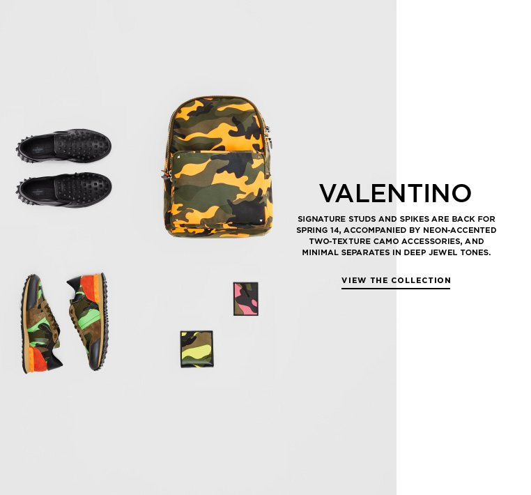 Neon camo and signature studs from Valentino Signature studs and spikes are back for Spring 14, accompanied by neon-accented two-texture camo accessories, and minimal separates in deep jewel tones.