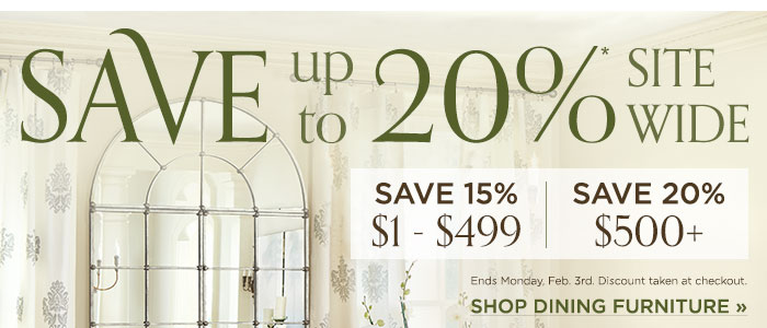 Save up to 20% sitewide