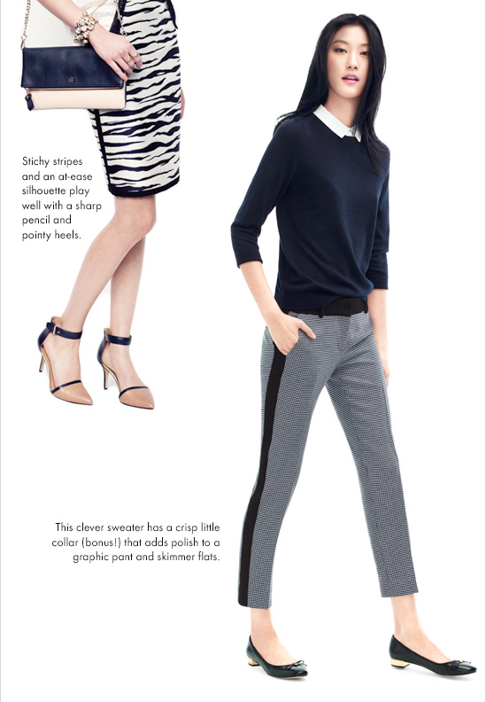Stitchy stripes and an at-ease silhouette  play well with a sharp pencil and pointy heels.  This clever sweater has a crisp little collar (bonus!) that adds polish to a graphic pant and skimmer flats.