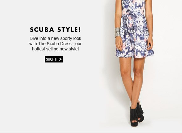 Scuba Style! Dive into a new sporty look with The Scuba Dress - our hottest selling new style! Shop It