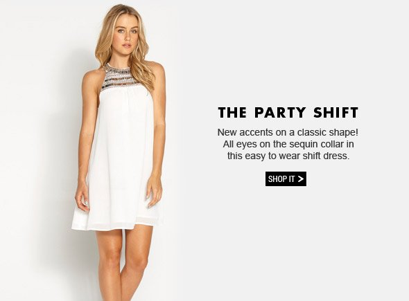 The Party Shift. New accents on a classic shape! All eyes on the sequin collar in this easy to wear shift dress. Shop It.