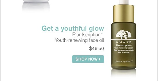 Get a youthful glow Plantscription Youth renewing face oil 49 dollars and 50 cents SHOP NOW