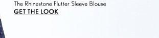 Sleeveless Rhinestone Flutter Blouse