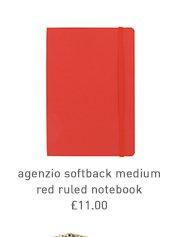 agenzio softback medium red ruled notebook