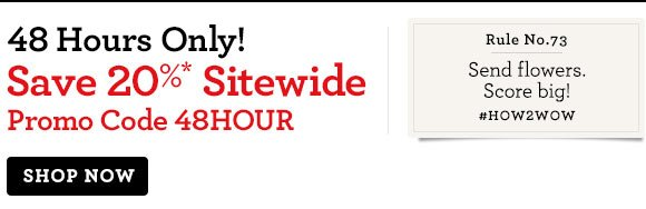48 Hours Only! Save 20%* Sitewide  Promo Code 48HOUR.  Shop Now