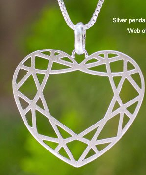 Silver pendant necklace, 'Web of Love'