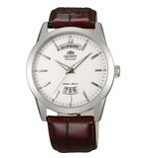 Orient EV0S005W Men's Union White Dial Brown Leather Strap Automatic Watch