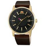 Orient ER02007B Men's Disk Brown Leather Strap Unique Rotating Disk Hour Hand Automatic Watch