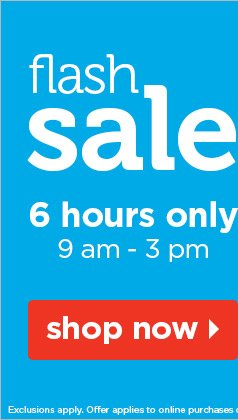 flash sale - 6 hours only, 9am-3pm