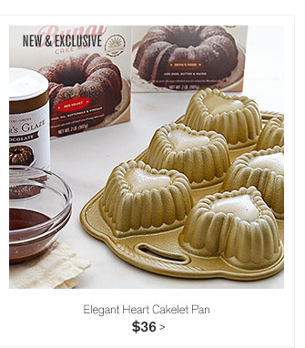 NEW & EXCLUSIVE -- Elegant Heart Cakelet Pan, $36