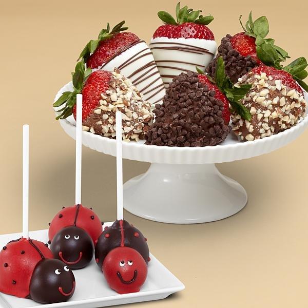 3 Love Bug Cake Pops & Half Dozen Fancy Strawberries