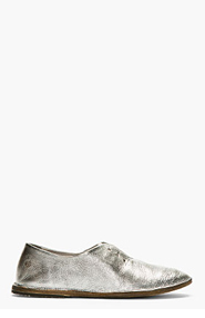 MARSÈLL Silver Metallic Laceless flats for women