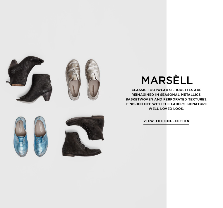 Metallics and textured leather from Marsèll Classic footwear silhouettes are reimagined in seasonal metallics, basketwoven and perforated textures, finished off with the label's signature well-loved look.