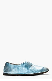 MARSÈLL Pale Blue Metallic Distressed Leather Shoes for women