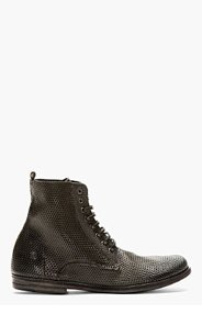MARSÈLL Black Perforated Combat Boot for women