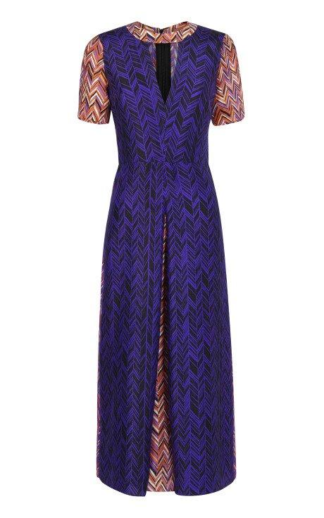 Printed Layne Dress with Tangerine Belt