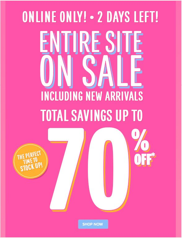 Entire Site on Sale - Including New Arrivals!