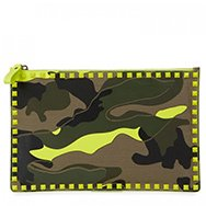 VALENTINO - Camouflage leather and canvas pouch