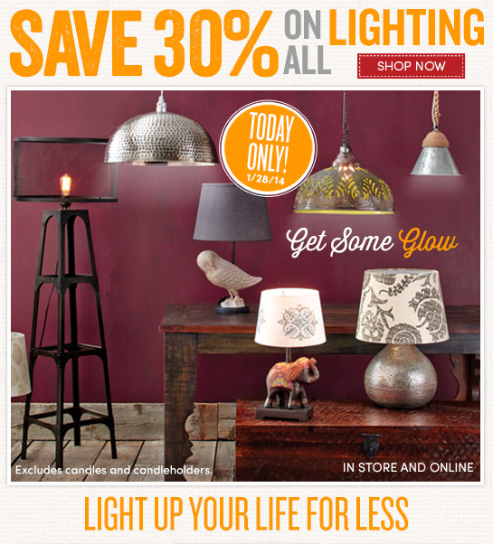 Today Only (1/28) - Save 30% on All Lighting