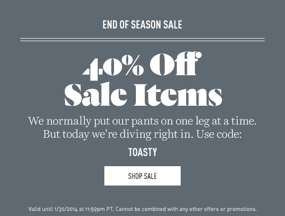 40% off End of Season Sale