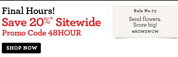 Final Hours! Save 20%* Sitewide  Promo Code 48HOUR.  Shop Now