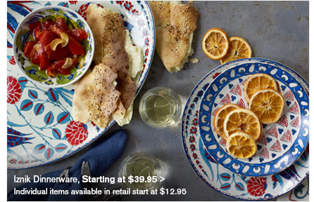 Iznik Dinnerware, Starting at $39.95  - Individual items available in retail start at $12.95