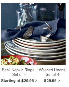 Sahil Napkin Rings, Set of 4 - Starting at $29.95 | Washed Linens, Set of 4 - $29.95