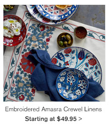Embroidered Amasra Crewel Linens - Starting at $49.95