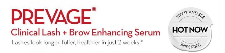 PREVAGE® Clinical Lash + Brow Enhancing Serum. Lashes look longer, fuller, healthier in just 2 weeks.*
