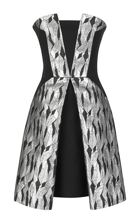 Intarsia Fissure and Stretch Crepe Dress