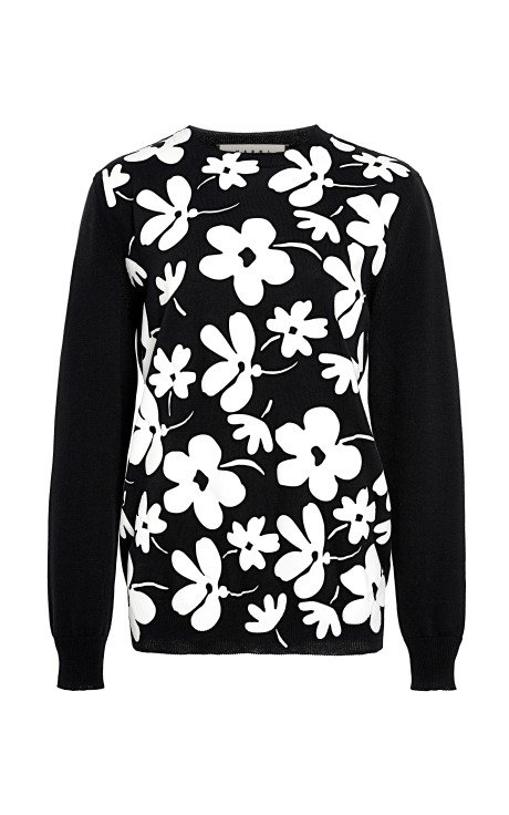 Floral-Print Cotton Sweater