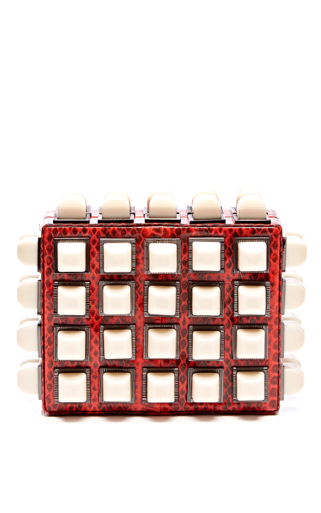 Lucite-Studded Snakeskin Clutch
