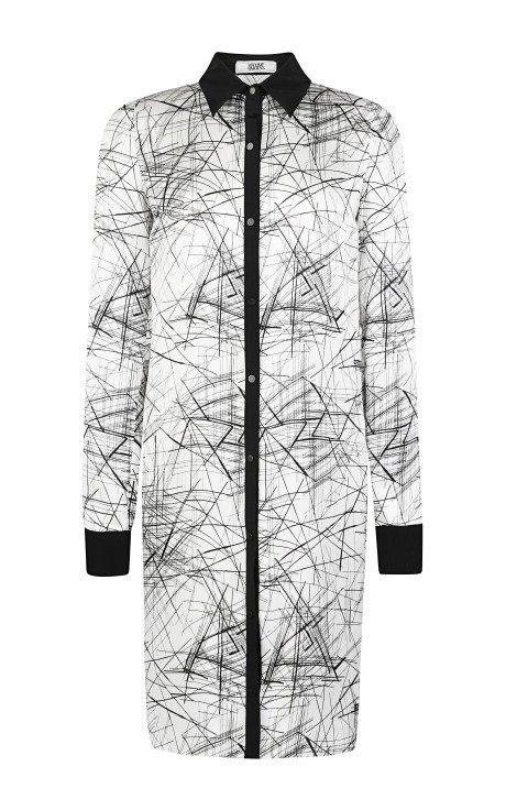 Printed Silk and Crepe Silk Shirt Dress