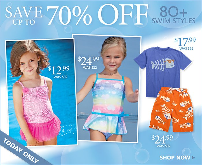 UP to 70% off boys and girls swim styles, Today Only