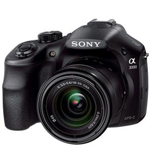 Adorama - Sony Alpha A3000 Digital Camera with 18-55mm F3.5-5.6 E Mount Lens, 20.1MP, Full HD Video